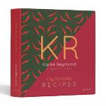 red hot pepper pattern recipe book . chef 3 ring binder