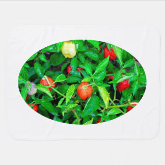 red hot peppers in green leaves baby blanket