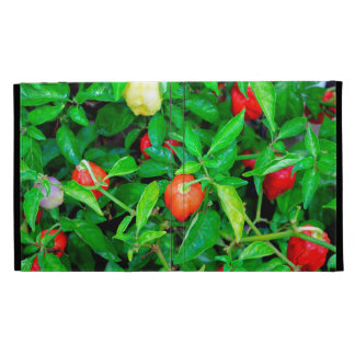 red hot peppers in green leaves iPad folio cover