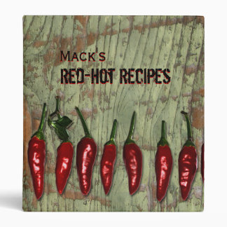 Red Hot Peppers Vintage Wood Personalized Recipes 3 Ring Binder