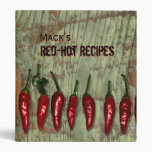 Red Hot Peppers Vintage Wood Personalized Recipes Binders