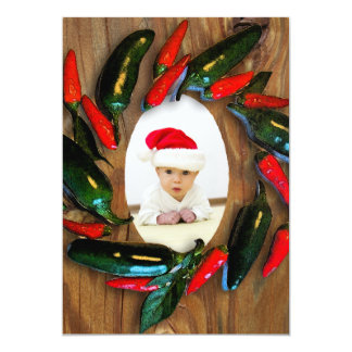 Red Hot Peppers Wreath Photo Christmas Card