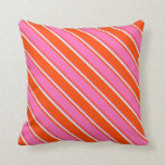 [ Thumbnail: Red, Hot Pink, and Light Cyan Stripes Pattern Throw Pillow ]