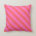 [ Thumbnail: Red & Hot Pink Pattern Throw Pillow ]