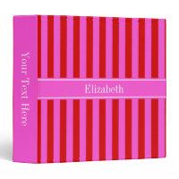 Red, Hot Pink Stripe Hot Pink Name Monogram Binder