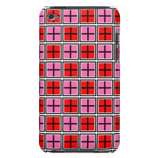 Red & Hot Pink Tiled  Square and Cross Pattern iPod Case-Mate Case