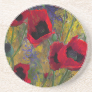 Red Hot Poppies Sandstone Coaster