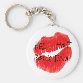 Red Hot Rock Diva Lips I Basic Round Button Keychain