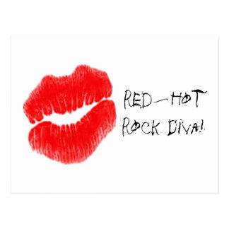 Red Hot Rock Diva Lips I Postcard