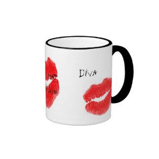 Red Hot Rock Diva Lips III Ringer Coffee Mug