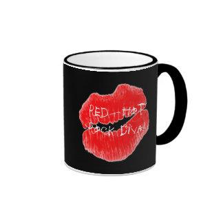 Red Hot Rock Diva Lips VIII Ringer Coffee Mug
