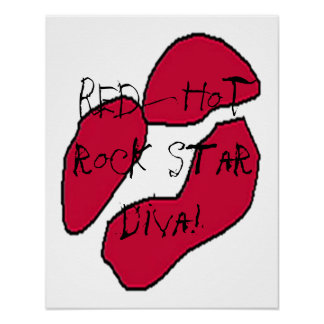 Red Hot Rock Star Diva Lips I Poster Posters