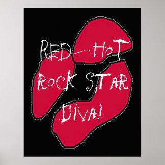 Red Hot Rock Star Diva Lips Poster Print