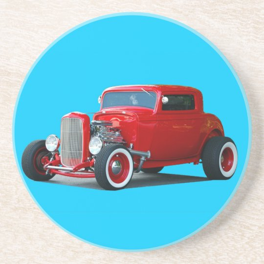 red hot rod car sandstone coaster
