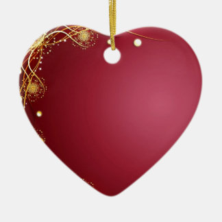 Red Hot Romance with Fireworks Cranberry Maroon Ceramic Ornament