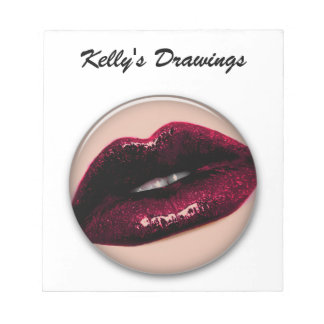 Red Hot Sparkling Kissable Lips Memo Pad