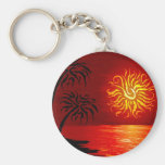 Red Hot Tropical Sunset Basic Round Button Keychain
