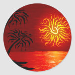 Red Hot Tropical Sunset Stickers