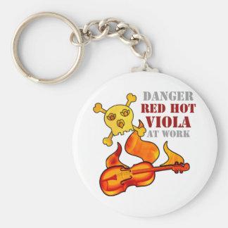 Red Hot Viola Basic Round Button Keychain
