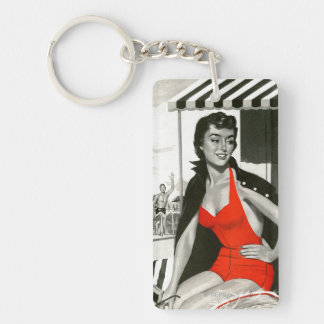 Red Hot Woman Double-Sided Rectangular Acrylic Keychain