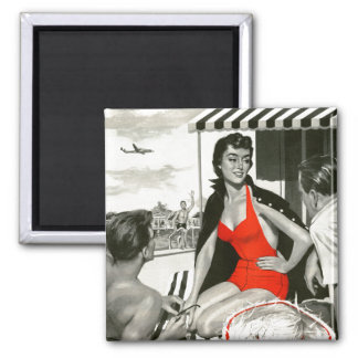 Red Hot Woman Refrigerator Magnet