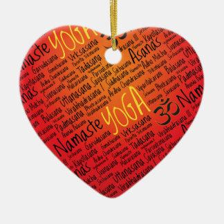 Red Hot Yoga Lover's Om Symbol Pattern Ceramic Ornament