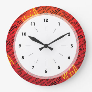 Red Hot Yoga Lover's Om Symbol Pattern Large Clock