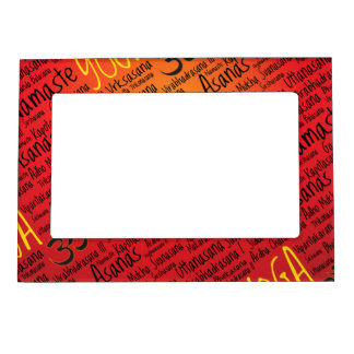 Red Hot Yoga Lover's Om Symbol Pattern Magnetic Picture Frame
