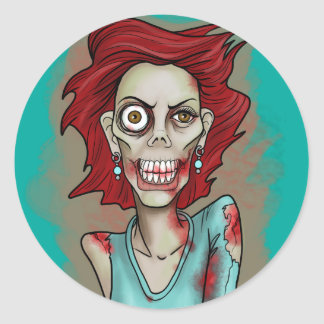 Red Hot Zombie Classic Round Sticker