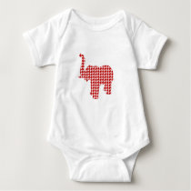 Red Houndstooth Elephant Baby Bodysuit