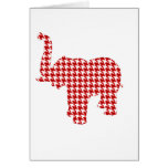 Red Houndstooth Elephant Card