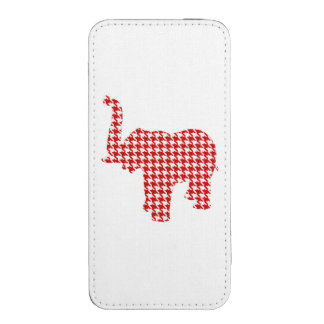 Red Houndstooth Elephant iPhone 5 Pouch