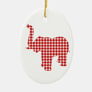 Red Houndstooth Elephant Ceramic Ornament