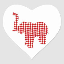Red Houndstooth Elephant Heart Sticker