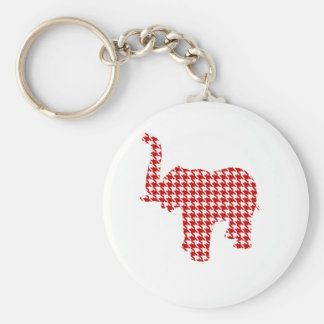 Red Houndstooth Elephant Keychain
