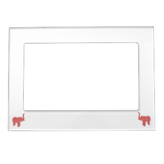 Red Houndstooth Elephant Magnetic Photo Frame