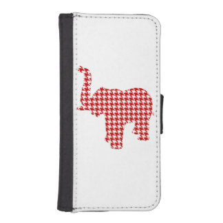 Red Houndstooth Elephant iPhone 5 Wallet Cases