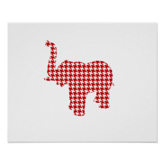 Red Houndstooth Elephant Poster