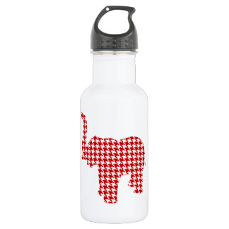Red Houndstooth Elephant Stainless Steel Water Bottle
