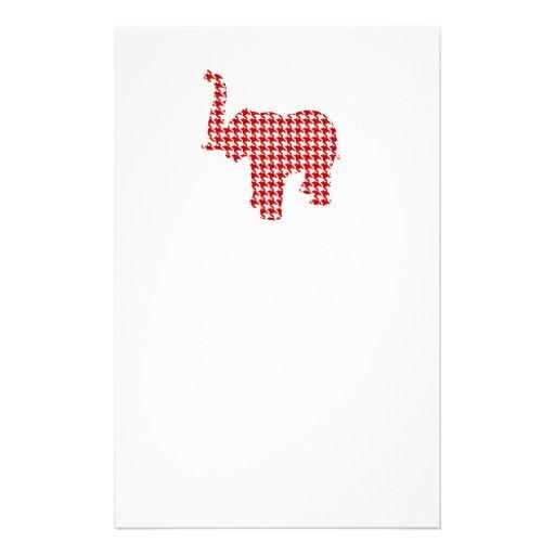 Red Houndstooth Elephant Customized Stationery