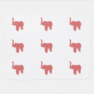 Red Houndstooth Elephant Swaddle Blanket