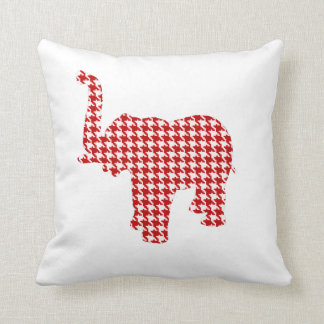 Red Houndstooth Elephant Throw Pillow