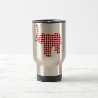 Red Houndstooth Elephant Travel Mug