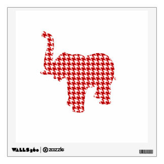 Red Houndstooth Elephant Wall Decals