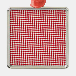 Red Houndstooth Pattern Metal Ornament