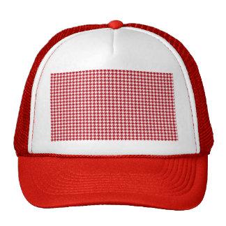 Red Houndstooth Pattern Trucker Hat