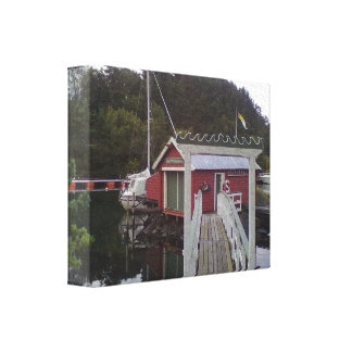 Red house bye the sea canvas print