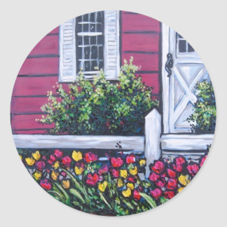 red house floral classic round sticker