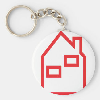 red house real estate icon key chain