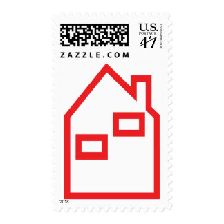 red house real estate icon postage stamp